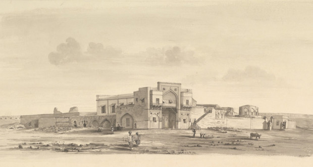 अहमदनगर भुईकोटाचे शाईत चितारलेले रेखाचित्र (इ.स. १८८५) - Ahmednagar fort interior
